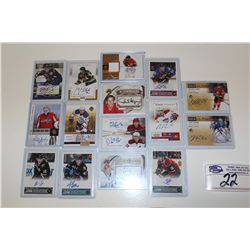LOT OF 15 AUTHENTIC NHL SIGNATURE AND JERSEY CARDS
