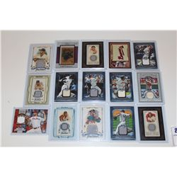 LOT OF 15 AUTHENTIC MLB GAME USED JERSEY CARDS
