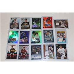 LOT OF 15 AUTHENTIC MLB GAME USED JERSEY AND AUTOGRAPHED CARDS