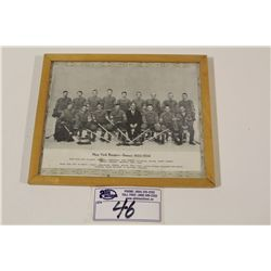1933-34 CCM BROWN BORDER NEW YORK RANGERS FRAMED TEAM PICTURE