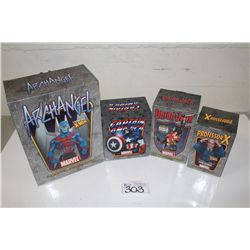 4 MARVEL MINI BUSTS, NEW IN BOX INCLUDING: PROFESSOR X 1307/2000, UNION JACK 1614/2500, CAPTAIN