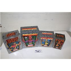 4 MARVEL MINI BUSTS, NEW IN BOX INCLUDING: CYCLOPS 1825/2000, TIGRA 2095/2500, BISHOP 1100/2000 AND