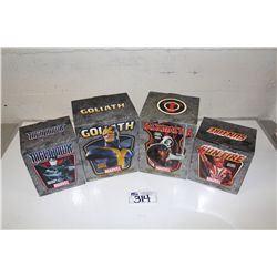 4 MARVEL MINI BUSTS, NEW IN BOX INCLUDING: SUN-FIRE 728/1800, TASKMASTER 1693/3000, GOLIATH