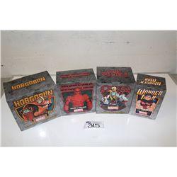 4 MARVEL MINI BUSTS, NEW IN BOX INCLUDING: OMEGA RED 1989/2500, WONDER MAN 777/800, HOBGOBLIN