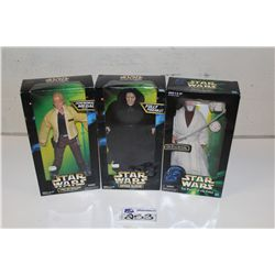 "3-STAR WARS 12"" ACTION FIGURE COLLECTION, NEW IN BOX"