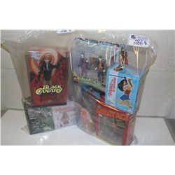 2 BAGS OF ASSORTED DC STATUES INCLUDING GREEN LANTERN, WONDERWOMAN ETC., NEW IN BOX TOYS