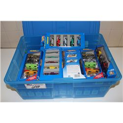HOT WHEELS RUBBERMAID CONTAINING 23 - 5 PACK HOT WHEELS MINT ON BOARD