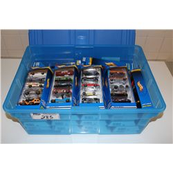 HOT WHEELS RUBBERMAID CONTAINING 25 - 5 PACK HOT WHEELS MINT ON BOARD