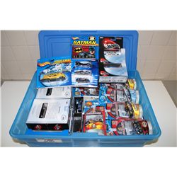 HOT WHEELS RUBBERMAID CONTAINING ASSORTED MIX, MINT ON BOARD INCLUDING: BATMAN, HAULERS, WORLD