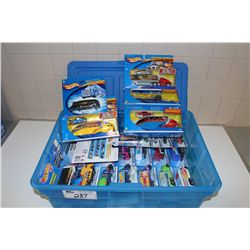 HOT WHEELS RUBBERMAID CONTAINING ASSORTED HAULERS, MINT ON BOARD