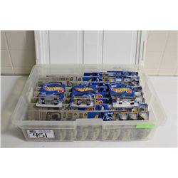 HOT WHEELS RUBBERMAID CONTAINING 70+ MINT ON BOARD T-BIRDS, LINCOLNS ETC.