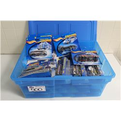 HOT WHEELS RUBBERMAID CONTAINING MINT ON BOARD LARGE SIZE TRUCKS