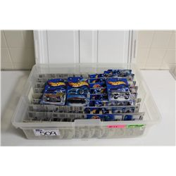 HOT WHEELS RUBBERMAID CONTAINING 90+ MINT ON BOARD CADIALLAC'S