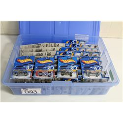 HOT WHEELS RUBBERMAID CONTAINING  80+ MINT ON BOARD DISPLAY CARS VARIATIONS
