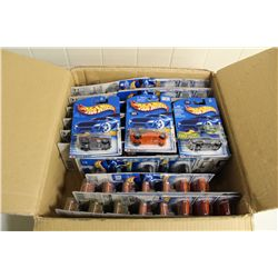 BOX CONTAINING 60+ MINT ON BOARD HOT WHEELS INCLUDING ROCKET OIL, NO MADDER, JADED
