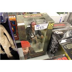 """4 ASSORTED ACTION FIGURES INCLUDING: 18"""" PIRATES OF THE CARIBBEAN CAPT JACK SPARROW, SHAUN OF THE"""