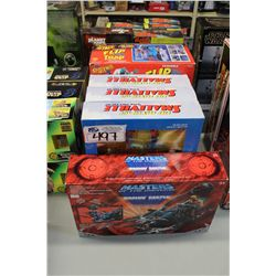 MASTERS OF THE UNIVERS, SPIDER-MAN SNEAK ATTACK FLIP 'N TRAP AND 3 SMALLVILLE SEVEN PIECE SET PLUS