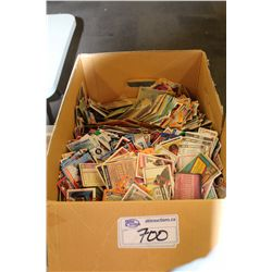 BOX LOT CONTAINING HUNDREDS OF LOOSE NHL, MLB, NBA TRADING CARDS 1980'S-2000'S