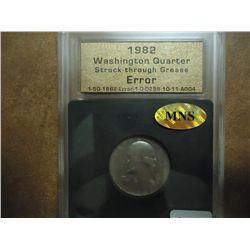 ERROR 1982 WASHINGTON QUARTER STRUCK THROUGH