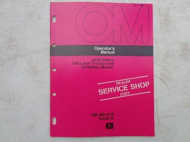 76 John Deere 100 Lawn Operators Manual Dealer