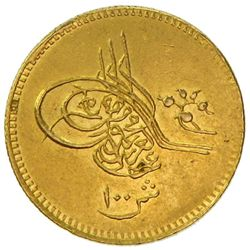 EGYPT: Abdul Aziz, 1861-1876, AV 100 qirsh (8.53g), Misr, AH1277 year 14