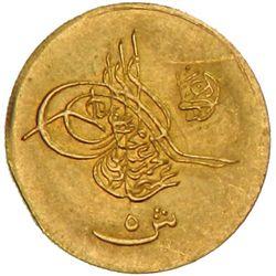 EGYPT: Abdul Hamid II, 1876-1909, AV 5 kurush, Misr, AH1293 year 26