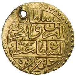 TUNIS: Mustafa III, 1757-1774, AV 1/2 sultani (1.27g), Tunis, AH1186