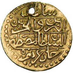 TUNIS: Mustafa III, 1757-1774, AV 1/2 sultani (1.21g), Tunis, AH1187