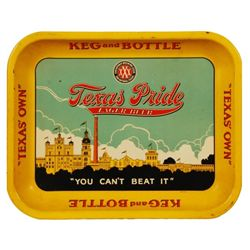 Texas Pride Beer Advertising Tray 1938