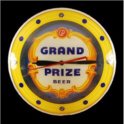 Grand Prize Beer Yellow Double Bubble Clock