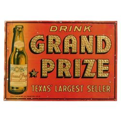 """Grand Prize Beer """"Texas' Largest"""" Sign"""