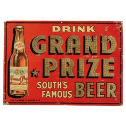 """Grand Prize """"South's Famous"""" Beer Tin Sign"""