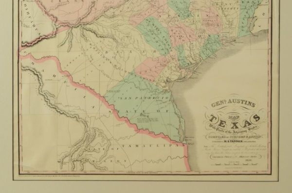 Map Of Texas 1840.1840 Henry S Tanner Texas Map