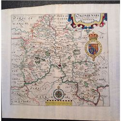 """Oxford, England:""""Oxoniensis"""" County map, 1637"""