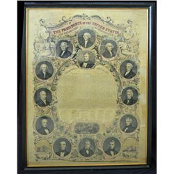 The Presidents of the United States of America and Declaration of Independence. Circa 1850's Lithogr