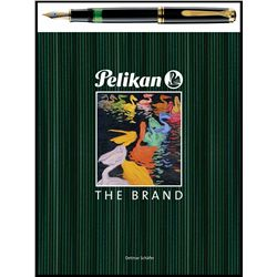 The classic PELIKAN Sourveran 1000 fine writing fountain pen and their book The Brand.