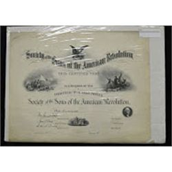 Society of the Sons of the American Revolution Specimen Certificate by ABNC.