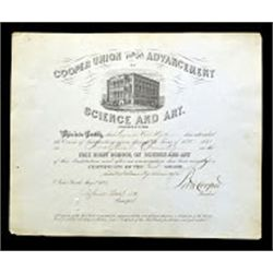 Cooper Union for the Advancement of Science and Art 1870 to 1876 Diplomas.