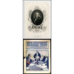 Benjamin Franklin Matted Engraving ca.1850.