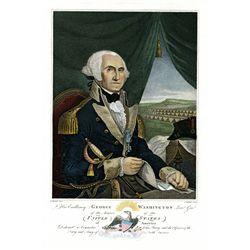 George Washington ND ca.1830-50's Hand Tinted Engraving.