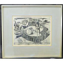 "Nahum Tschacbasov, Framed Original Etching""Flying Fish""."