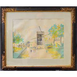 """Artist Maurice Utrillo (1883-1955),""""La Rue De La Gallette"""" Original Framed Lithograph."""