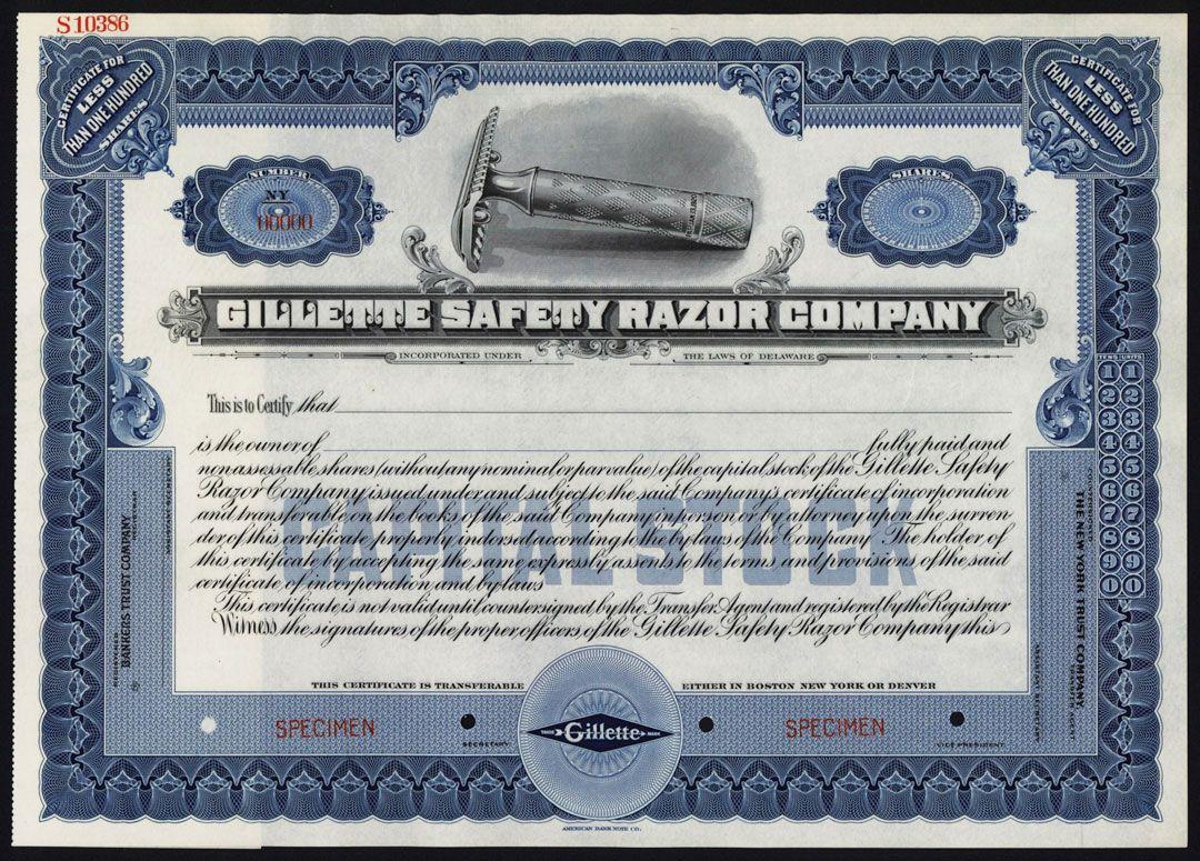 Gillette Safety Razor Co  Specimen Stock Certificate