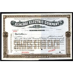 General Electric Company Historic 1892 (ca.1909) Specimen Stock Certificate.