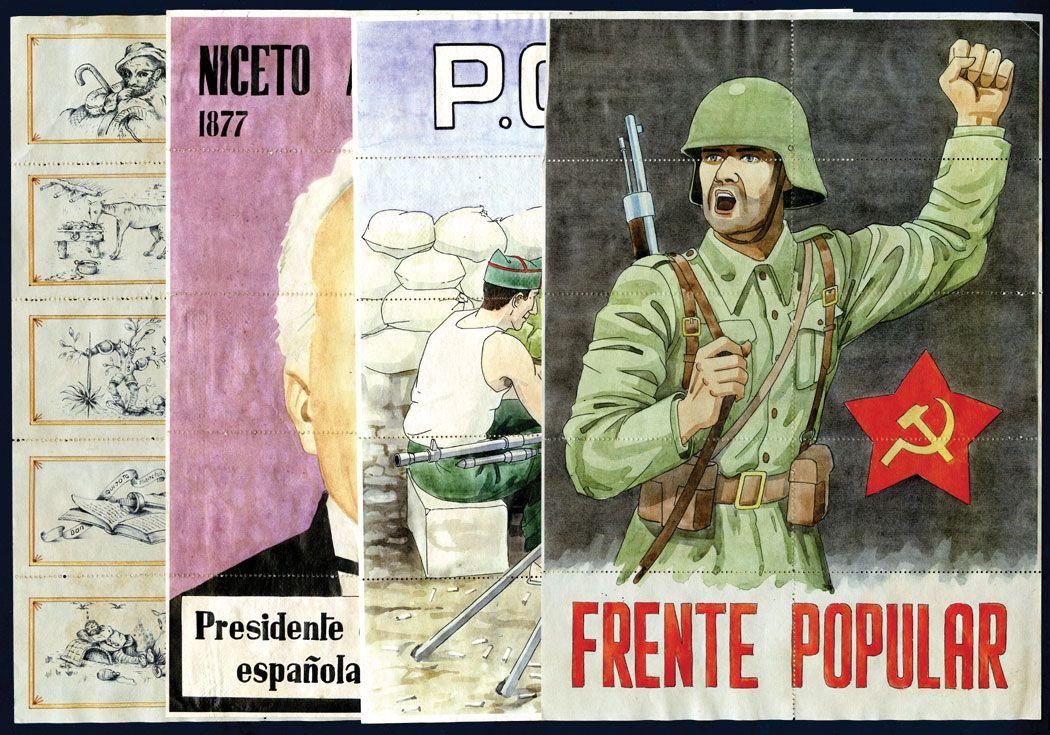 SPAIN LOT 5 DIFF NOTES SPANISH CIVIL WAR VF CONDITION