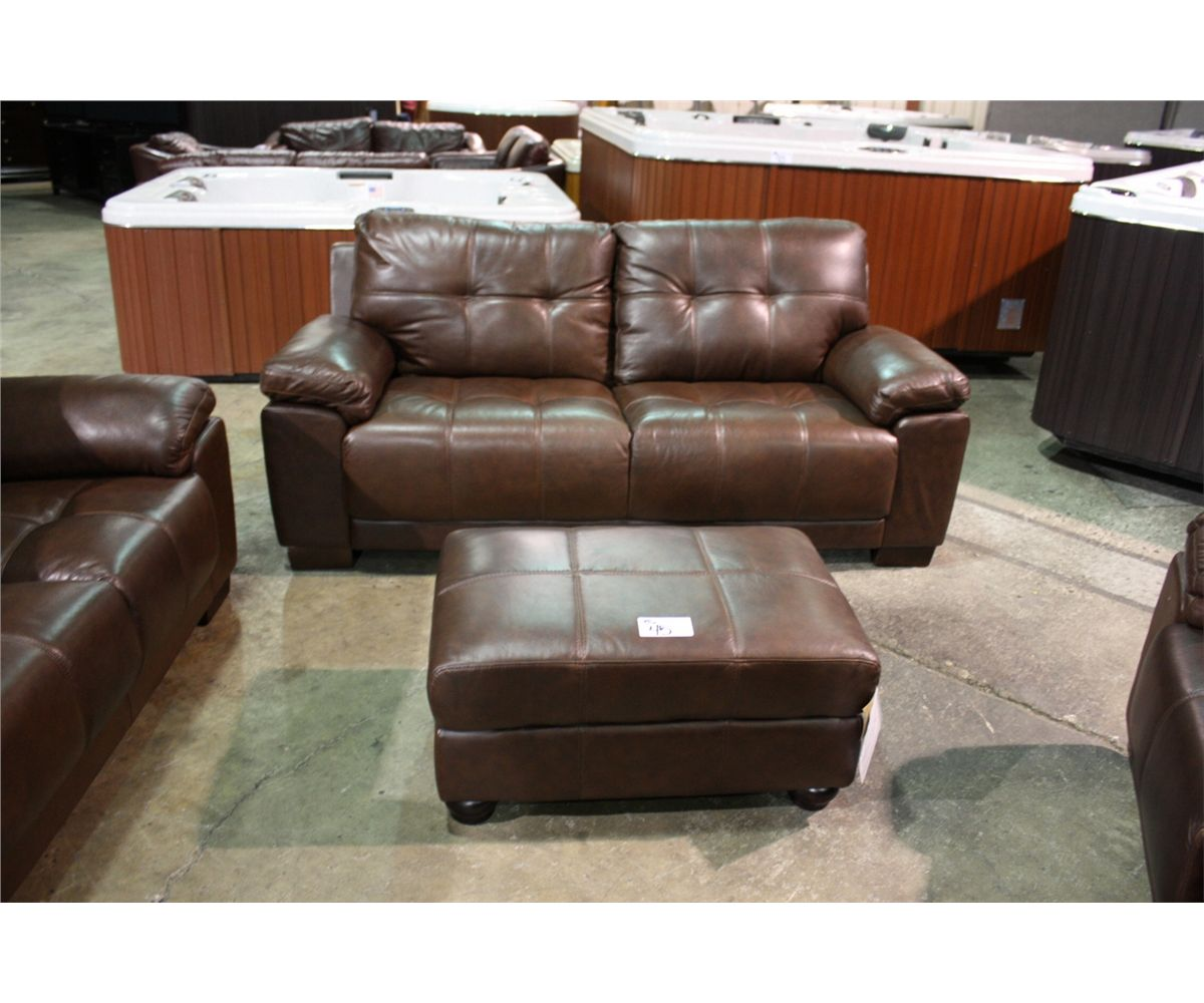 Fantastic 5 Piece Brown Leather Sofa Loveseat Two Chairs And Ottoman Squirreltailoven Fun Painted Chair Ideas Images Squirreltailovenorg