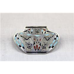 Zuni Sterling Channel Inlay Olla Pin Pendant - Peynesta