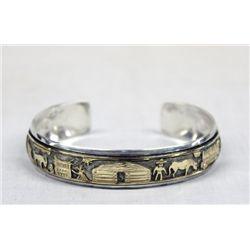 Navajo Sterling 12KtGF  Storyteller Bracelet