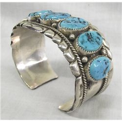 Large Navajo Sterling Turquoise Cuff Bracelet