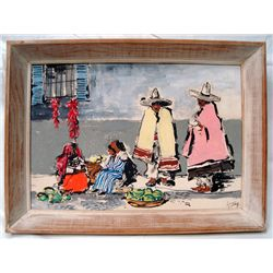 Original Mexican Marketplace Painting by Guetthoff